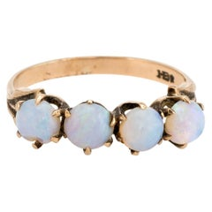 Antique Victorian 4-Stone Opal Ring Vintage 10 Karat Gold Estate Fine Jewelry