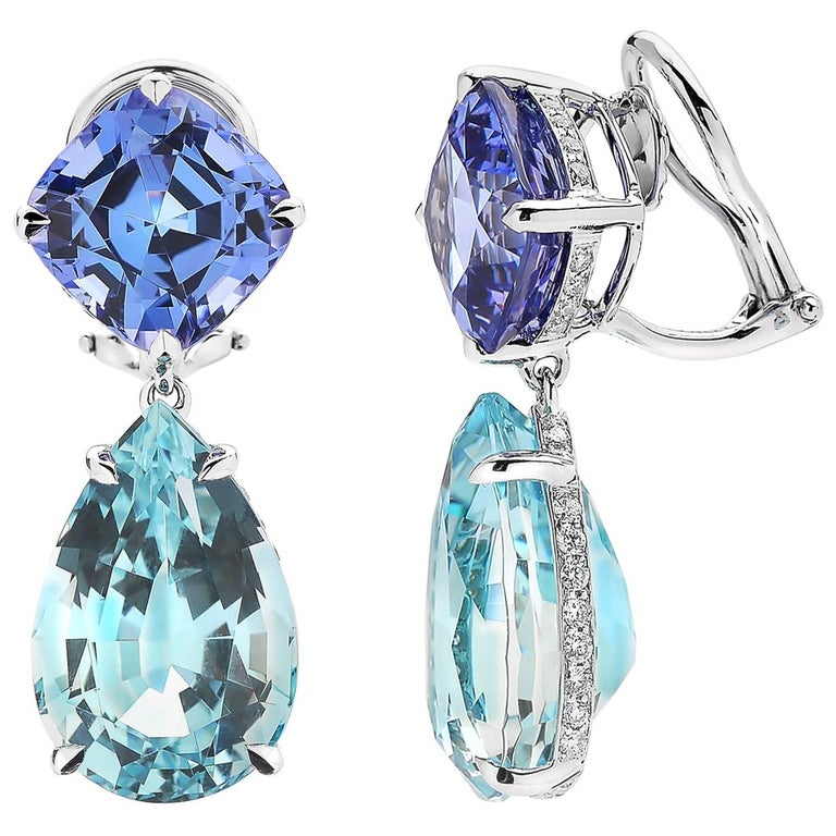 Paolo Costagli 18 Karat White Gold Tanzanite and Aquamarine Earrings For Sale