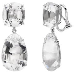 Paolo Costagli 18 Karat White Gold Rock Crystal Clip Earrings