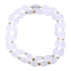 Seaman Schepps Torchon Carved Crystal Diamond Gold Necklace Suite