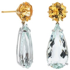 18 Karat White Gold Yellow Scapolite and Green Beryl Earrings