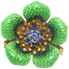 Vintage Tiffany & Co. Green Enamel Flower Brooch 18 Karat Gold Blue Sapphires