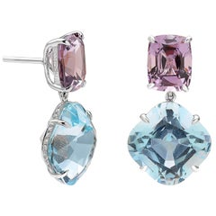 Paolo Costagli 18 Karat White Gold Aquamarine, Spinel and Diamond Earrings