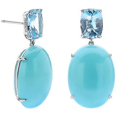 18 Karat White Gold Aquamarine and Sleeping Beauty Turquoise Earrings