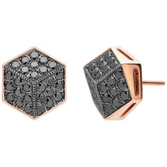 Paolo Costagli 18 Karat Rose Gold 1.35 Carat Black Diamond Stud Earrings