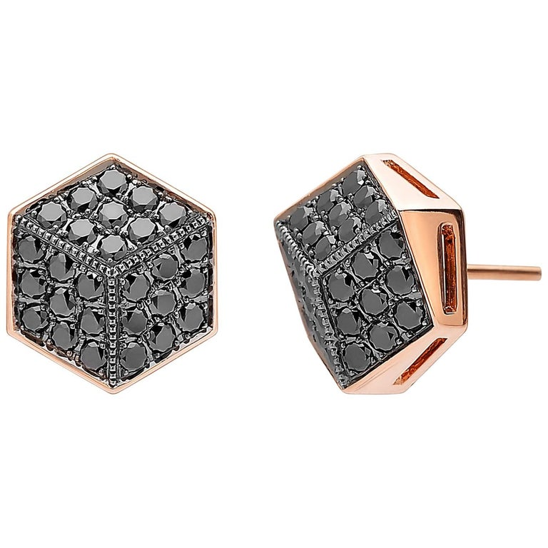 Paolo Costagli 18 Karat Rose Gold Black Diamond Stud Earrings For Sale
