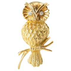 Tiffany & Co. Gold Owl Brooch