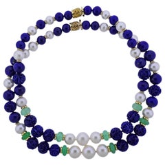 Seaman Schepps Canton Carved Lapis Pearl Chrysoprase Gold Necklace Suite