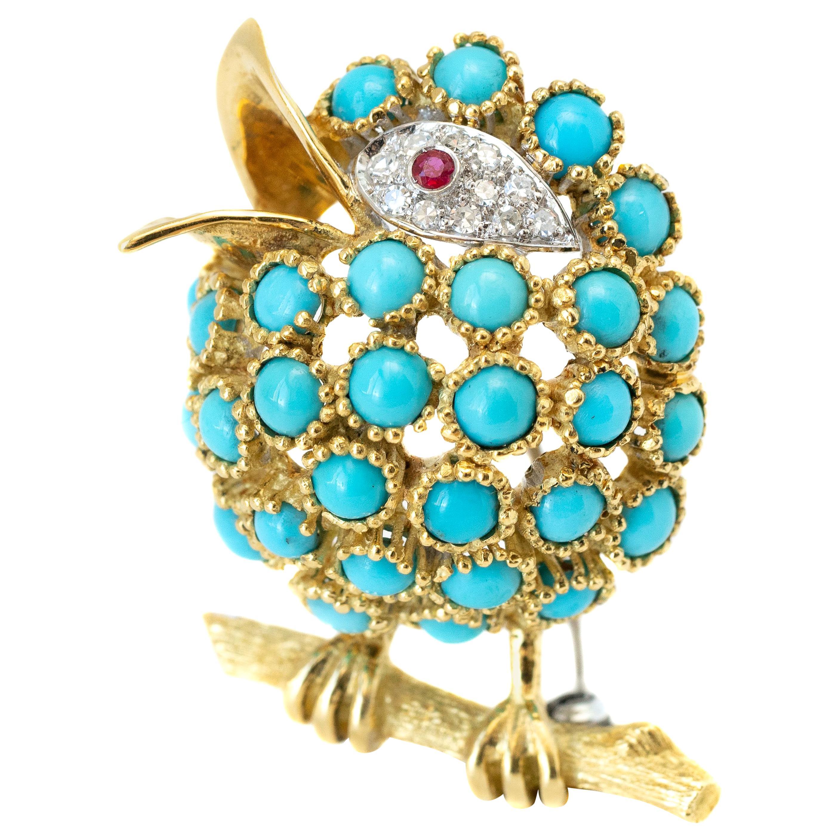 Diamonds, Turquoise and Ruby 18 Karat Gold Bird Brooch