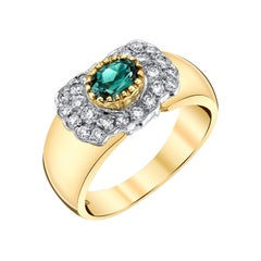 0.67 Carat Alexandrite and Diamond Ring 18k Yellow and White Gold