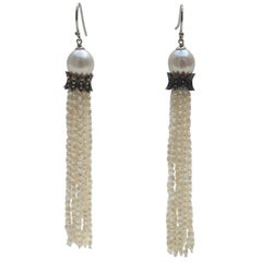Marina J White Pearl Tassel Earrings with Diamonds and 14 K White Gold Hooks