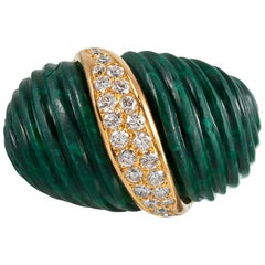 Midcentury Carved Malachite and Diamond Ring