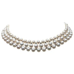 Woven White Pearl Necklace with 14 Karat Gold Faceted Beads and Sliding Clasp