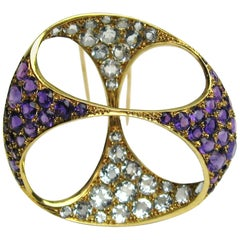 18 Karat Gold Amethyst and Aquamarine Coat Clip Brooch Free Form