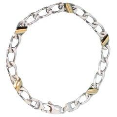 Tiffany & Co. Sterling Silver 18 Karat 18 Carat Gold Link Bracelet