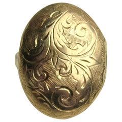 14 Karat Gold Antique Poison Locket Scrolled Engraving Ring