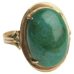 Art Nouveau 10 Karat Gold Malachite Ring