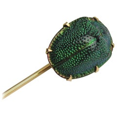 14 Karat Gold Victorian Egyptian Scarab Beetle Brooch Stick Pin