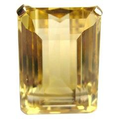 14 Karat Gold Citrine 23+ Carat Emerald Cut Cocktail Ring