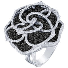 6.73 Carat Black and White Diamond 14 Karat White Gold Cocktail Rose Ring