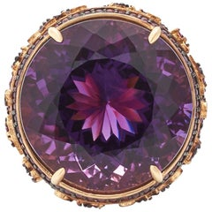 Orianne Collins Violet Amethyst Ruby and Blue Topaz Plum Gold Ring