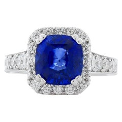 4.05 Carat Cushion Blue Sapphire and Diamond Cocktail Ring in 14 Karat Gold