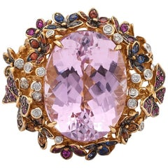 Pink Amethyst Multicolor Sapphire Yellow Gold Butterfly and Flower Ring