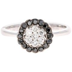0.45 Carat Black and White Diamond 14 Karat White Gold Ring