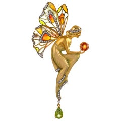 Masriera Diamond Citrine Enamel and Peridot Nymph Motif Pin Pendant