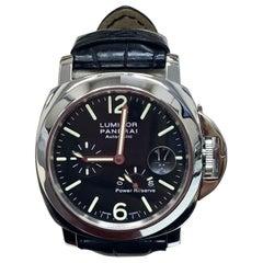Panerai Luminor PAM01090 Stainless Steel Watch Black Leather Band