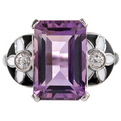 Masriera  Amethyst, Enamel and Diamond Ring