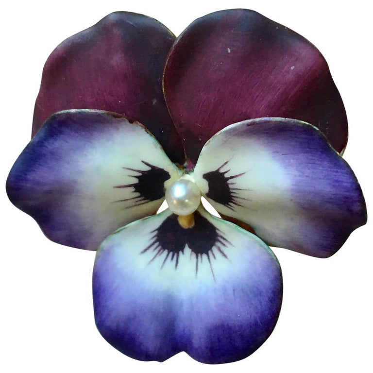 Art Nouveau Style Vintage Enamel Pansy Flower Pin 14 Karat Gold and Pearl