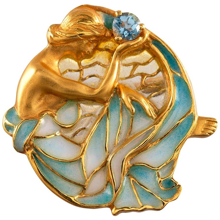 Masriera Enamel and Aquamarine Gold Pin Pendant For Sale