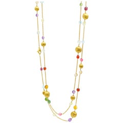 Marco Bicego 18K Yellow Gold and Multi-Colored Gemstone Long Statement Necklace