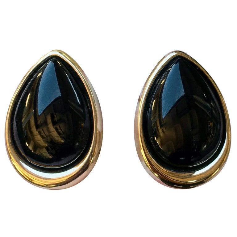 Pear Shaped Black Onyx 14 Karat Yellow Gold Earrings Peter Brams Designs For Sale