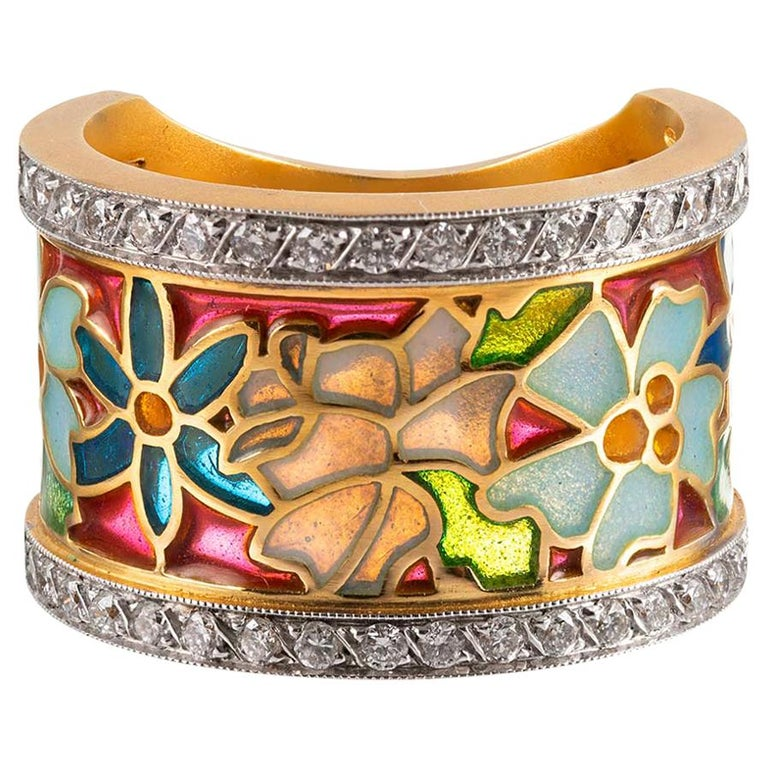 Masriera Enamel and Diamond Floral Motif Ring For Sale