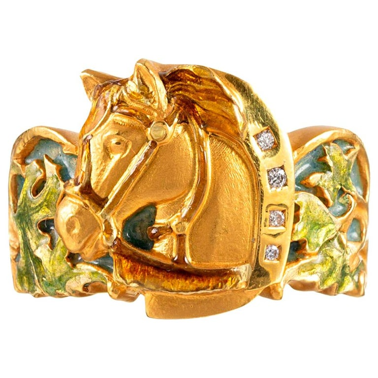 Masriera Enamel and Diamond Horse Motif Ring For Sale