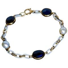 Antique Cabochon Sapphire Pearl Enamel Gold Bracelet