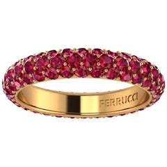 2.00 Carat Ruby Pave Eternity Ring in 18 Karat Yellow Gold