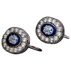 Georgian Era Antique Diamond Enamel Pearl Gold Earrings