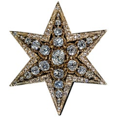 Antique Victorian Era Diamond Star Gold Brooch Pendant