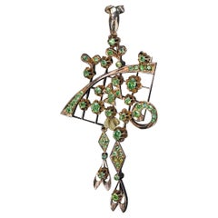 Art Nouveau Antique Russian Demantoid Gold Pendant