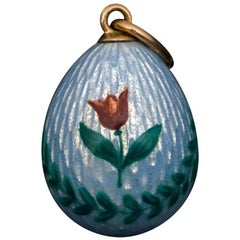 Antique Russian Painted Blue Guilloche Enamel Egg Pendant