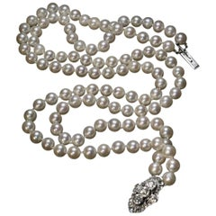 Vintage Double Strand Pearl Necklace with Diamond Clasp