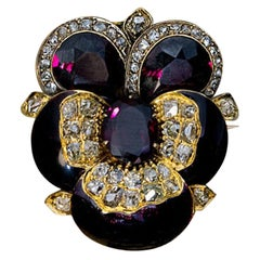Antique Russian Garnet Enamel Diamond Gold Pansy Brooch