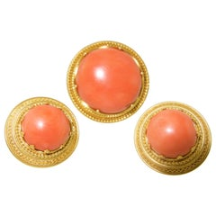 Victorian Etruscan Revival Coral Earrings and Brooch, circa 1975
