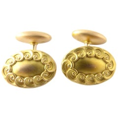 14 Karat Yellow Gold Oval Cufflinks