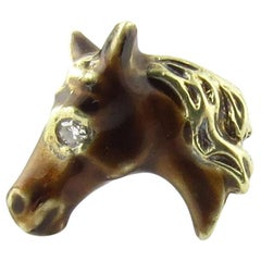14 Karat Yellow Gold and Diamond Horse Head Tie Tack