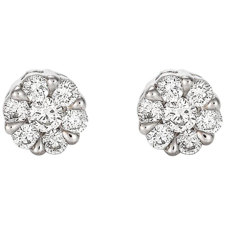 Giulians Medium 18K Diamond Set Cluster Stud Earrings 1
