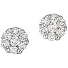 Giulians Large 18K Diamond Set Cluster Stud Earrings